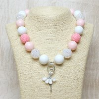 Wholesale Chunky Chain Bead Necklace - New Four Style Childrens Ballet Girls Pendants Necklaces Chunky Beads Necklace Kids Birthday Bubblegum Choker Jewelry Pink Blue White