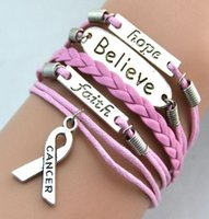Cheap Fashion Breast Cancer Bracelets Believe Faith Hope Leather Bracelet Personality Handmade Bracelets Christmas Gift Charm Jewelry 50pcs