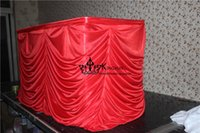 Wholesale Red Color Ruffled Ice Silk Table Skirt Table Skirting Used For Party Wedding Decoration