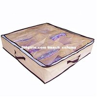 Wholesale DHL free storage bags Simple household items grid clean water storage shoebox non woven storage shoebox transparent storage box shoebox