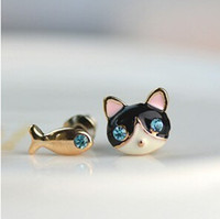 Wholesale selling Animal cat fish earrings jewelry earrings girl Stud Earrings