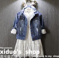 Wholesale Baby Girls Denim Jacket New Spring Autumn Kids Jacket for Gilrs Fashion Hole Jeans Jacket Girls Outerwear Y