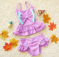baby sun swimsuit - New Baby Girls Swimwear Kids Swim Suit Ruffles Bowknot Sun top Shorts Bathing Suit Children Swimsuit Purple Blue