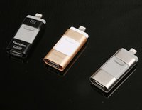Wholesale 3in1 OTG Flash Drive USB Disk Memory Stick USB for iPhone IOS Android iPad PC G