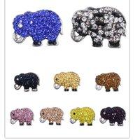 achat en gros de bracelet éléphant gros-Cute Elephant Noosa Chunk Ginger Snap boutons Bijoux en gros ajustement Noosa 18mm Bracelets