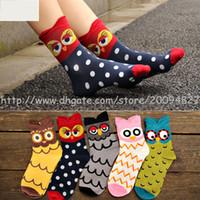 Wholesale Hot Good quality Candy Color Women Cotton Socks Three dimensional the owl cartoon Sock Fashion Owl Socks