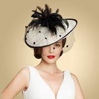 Wholesale 2016 brand Black feather linen aristocracy banquet elegant hats for women