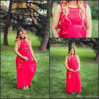 baby shower beads - 2016 Red Chiffon Plus Size Bridesmaid Dresses for Pregnant Women A Line Jewel Neck A Line Baby Shower Long Formal Evening Gowns Custom