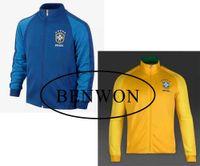 Wholesale Benwon Brazill blue full sleeve soccer jacket adult Brasill outdoor fooball jackets thai quality men s winter soccer coat sportswear
