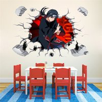 animated writing - Cartoon Naruto uchiha itachi write round eyes D stereoscopic broken wall stickers animated PVC Waterproof stickers