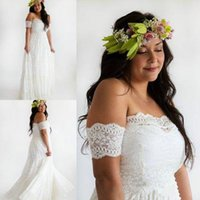 Wholesale Modest Plus Size Boho Bohemian Wedding Dresses A Line Sheer Sleeveless Beach Garden Lace Bridal Gowns Sweep Train Wedding Gowns