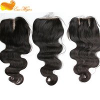 Wholesale top grade A brazilian virgiin hair way part body wave lace closure bleached knots natural color x4inch