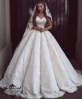 Wholesale Arabic Lace Ball Gown Wedding Dresses Vintage V Neck Sleeveless Corset Ivory Applique Bridal Gowns Beaded Plus Size Women Dress