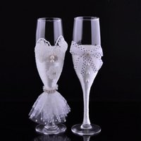 champagne flutes - 2pcs set For Groom And Bride Champagen Glasses Wedding Transparent Glass Cup Juice Glasses Wine Glasses Water Cups Champagen Goblet LJJP239