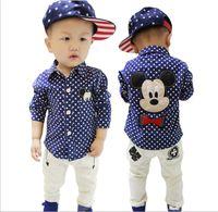 baby batik - 2016 New Baby Boys Shirts Cartoon Mickey Mouse Polka Dots Shirt Children Long Sleeve Spring Autumn Fashion Shirts Kids Korean Boy Clothes