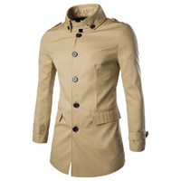 Wholesale Premium Mens British Classic Fit Trench Cotton Pea Coat Spring Fall Jacket
