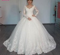 arab wedding pictures - Gorgeous Sheer Ball Gown Wedding Dresses Puffy Lace Beaded Applique White Long Sleeve Arab Wedding Gowns robe de mariage