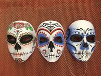 face painting supplies - Halloween skull hand painted mask Day of the Dead masks Festive and party supplies styles available Drop shipping