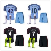 Wholesale 2016 jersey with shorts Manchester kit soccer jersey Aguero City soccer jerseys football jerseys suit shirt