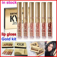Wholesale Newest Kylie jenner Lip gloss cosmetics gold KYLIE BIRTHDAY COLLECTION Matte Lipstick Kylie Makeup limited Edition Lipgloss