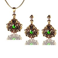 Wholesale Antiqued Gold Black Crystal Paisley Teardrop Earrings and Pendant Necklace Set Scroll Work Floral Filigree Victorian Jewelry Set
