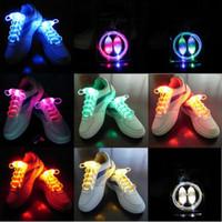 Wholesale 2016 Light Up Shoelaces Led Flashing Shoes Laces Christmas Festival Decoration Fiber Optic Flash Luminous Lighting pairs Stock