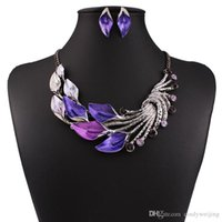 alloy bend - Bent Leaves Statement Locket Necklaces Earrings Women Lady Fashion Rhinestone Chokers Party High Quality Jewelry Set Valentine Gift Colors
