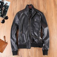 Wholesale ITALY Ddesign men Fashion Mandarin Collar Faux Leather coats High Quality Casual Jacket Outerwear Black brown M XXL D1208