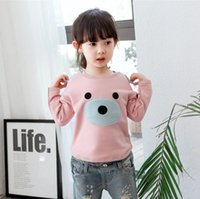 Broadcloth bear ears clothing - Bear embroidery T shirt Girls boys cartoon sweater solid small ears tops soft thickening kids children autumn winter clothing