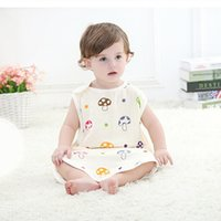 Cheap Swaddle Baby Sleeping Bag Summer Sleepsacks Sleeping Bags Swaddling Newborn Cotton Blanket Cartoon Mushroom Vest Infant Pajamas Beige Soft
