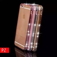 auger drills - The new three rows of drill iPhone6S luxury electroplatin set auger tide TPU iphone6Plus transparent mobile phone protection shell
