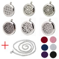 ab oils - New Fashion Perfume Locket L Stainless Steel Essential Oil Aromatherapy Diffuser Locket Pendant Necklace Send Chain Felt Pad Ab