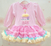 autumn candles - Exquisite Workmanship Baby Birthday Cake Dress Lovely Bow Embroidery Candle at Collar Multicolor TUTU Hem Long Sleeves