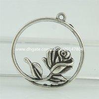 antique rose rings - 15209 Alloy Antique Silver Vintage Round Ring Rose Flower Pendant