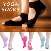 Wholesale New Fashion Women Half Toes Yoga Socks Indoor Sports Antiskid Exposed Instep Sock Female Cotton Five Toes Socks