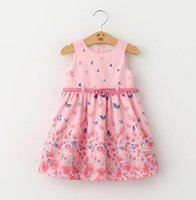 ball framework - Children s clothing occasionally button to print the new cotton sleeveless dress girl princess and framework of the girl tBNM13