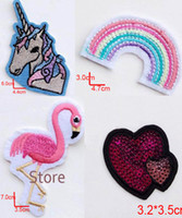 Wholesale Hot sell unicorn rainbow flamingo heart in badges embroidered Iron On cartoon Patches For Clothes Cute Appliques DIY accessory