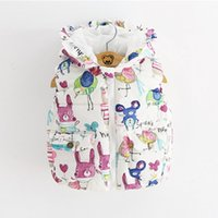 Wholesale Cotton Padded Jacket Baby - Kids Waistcoat 2016 Winter Baby Warm Outerwear & Coats Animal Graffiti Thick Princess Girls Hooded Vest Jackets Padded For 1-6Y 5pcs lot