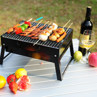 Wholesale 2016 Black Square Stainless Steel Pinic Grill Folding Notebook Charcoal Grills for Summer Outdoor BBQ Party