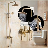Wholesale Blue And White Porcelain Bathtub Mixer Tap Antique Brass Rain Shower Faucet Hand Shower