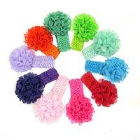 baby stretch crochet hairbands - Chiffon Flower Western Style Baby Girls Headband Handmade Flowers Head Wear Children Crochet Stretch Hair Bands