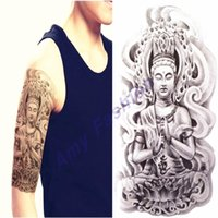 arm chest - Black Death Skull Shoulder Temporary Tattoos Men s Waterproof Arm Chest Fake Sleeve Tattoo Stickers