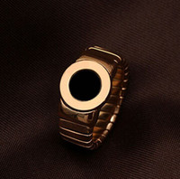 Mexican agate engagement rings - Watchband type ring shell rose gold ring Foreign hot spring steel shell Agate Ring