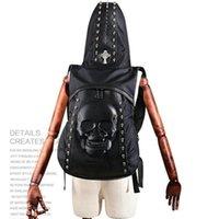 Unisex backpack with cooler - Rock sport backpack with hat D human skeleton bag Cool leather rucksack Rivet walk day pack