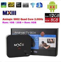 HOT Android 4,4 TV Caja MXIII 4K Amlogic S802 Smart TV TV Quad Core 2G / 8G 1G 8G Mini PC 2.0GHz XBMC Wifi Dongle Miracast DLNA 4P