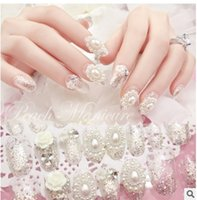 Wholesale Fake nails nail patch finished pearl bride silver glitter nail Nail Packed