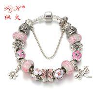 beaded chain enamels - F H Best Jewelry Fashion Antique Silver Batterfly Charm Bracelets Bangles For Women Handmade Enamel Crystal Beads Pulsera