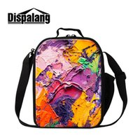 artistic children - Artistic Thermal Kids Lunch Cooler Brushwork Insulated Lunch Bag Children Food Carry Storage Casual Outddor Picnic Box Lunchbag