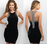 Wholesale 2017 New Arrival Sheath Short Black Cocktail Dresses Crystal Beaded Sequins Jewel Special Back Design Backless Formal Party Dress