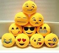 Wholesale Diameter cm Cushion Cute Lovely Emoji face Smiley Pillows Cartoon Cushion Pillows Yellow Round Pillow Stuffed Plush Toy styles